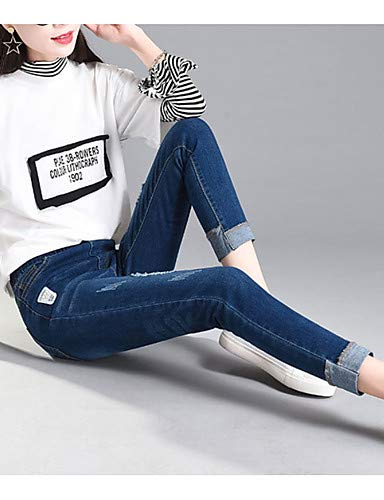 Solid Femme pour Basic Blue Pantalon YFLTZ Hole Colored Jeans wqT7UxX