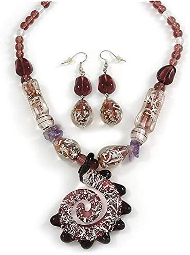 Purple with Silver Foil Glass and Amethyst Chips Stone Necklace and Drop Earrings Set