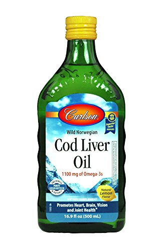 Carlson Cod Liver Oil, Award Winning Lemon Flavored Liquid, Norwegian, 1,100 mg Omega-3s per Teaspoon, with Vitamins A & D3, 500 ml