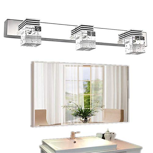 Decoroom Bathroom Vanity Lights 3-Lights Mirror Light Fixtures LED Crystal Make Up Lamps Wall Sconce Cool White Daylight 9W Modern Wall Lamp Lighting