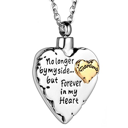 (SalaTrend Mom Dad Son Daughter Sister Brother Pet Forever In My Heart Cremation Jewelry Keepsake Memorial Urn Necklace (Grandma))