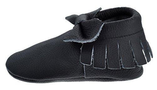 Sayoyo Borlas arco Suaves Zapatos De Cuero Del Bebé Zapatillas negro