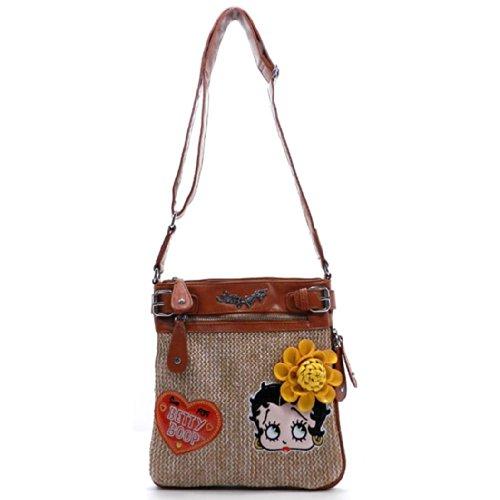 Betty Boop Brown Straw Cross-Body Messenger Bag Embedded Flora tan Sling - Betty Shoe Boop