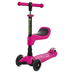 Zoomy Leisure 2-in-1 Mini Scooter with Removable Seat for Kids 18 Months to 4 Years (Pink)