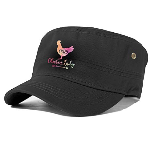Crazy Chicken Lady Unisex Adult Flat Top Cap Cabbie Cap Cotton Adjustable Outdoor Sports Black (Crazy Cabbie)