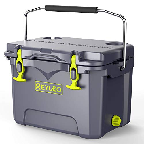 REYLEO Cooler, 21-Quart/20L Rotomolded Cooler, 30-Can Capacity, 3-Day Ice Retention, Heavy Duty Ice Chest (Built-in Bottle Opener, Cup Holder,incl.) for Camping, Fishing, and Other Activities - A21 ()