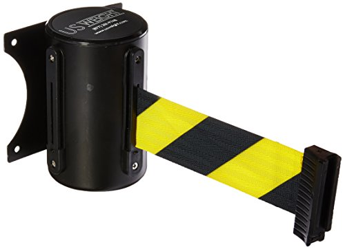 US Weight Wall Mount with Retractable Belt - 13' Yellow/Black Chevron Pattern