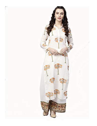 (Women Maroon & Golden Printed Kurta with Palazzos Full Set Dream Angel Fashion (Medium-36))