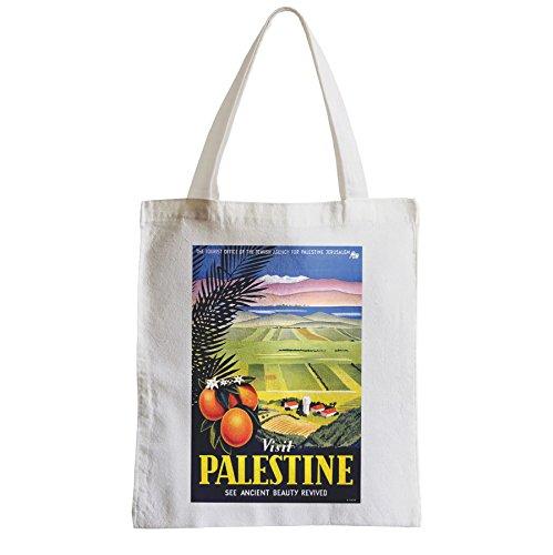 Große Tasche Sack Einkaufsbummel Strand Schüler Besuch Palästina Vintage Reise siehe Antike Schönheit Middle East Orange