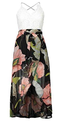 Womens Floral Jaycargogo Dress Split Lace Print Neck Plunge 2 Splicing Sexy Strap Halter dwPBPrnq8S