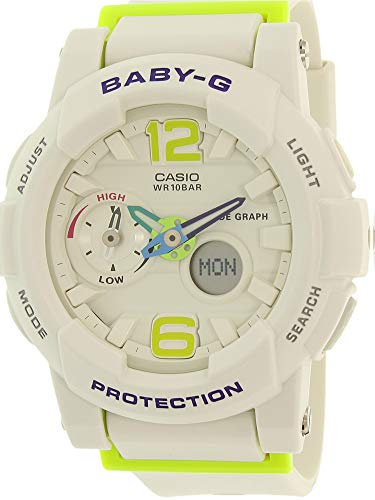 Casio G-Shock Womens BGA180 Glide with Tide Graph Baby-G Series Designer Watch - White/Lime Green/One Size