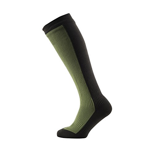 SealSkinz Hiking Mid Knee socks, Small - Golden Moss/DK Olive. With a Helicase brand sock ring