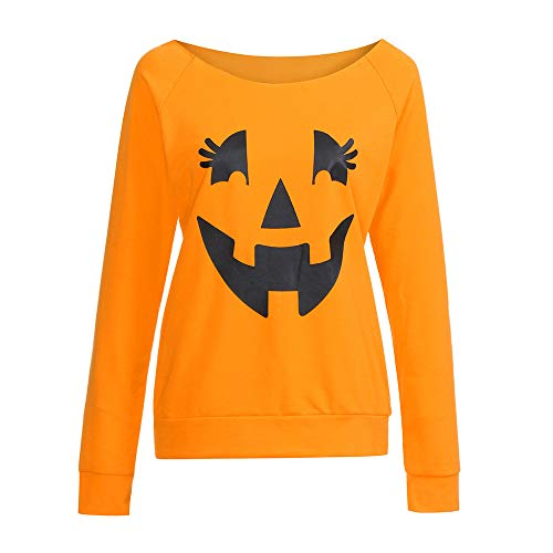 Casual KW Sleeve Pumpkin Print T Sweatshirt Orange Long Women Pullover Shirt Halloween XqSxrtSw