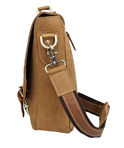 Insun - Bolso al hombro de Piel para hombre Camel Crazy Horse Leather
