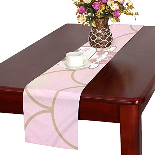 (WUTMVING Cute Unicorn Mermaid Decorated Shell Diamon Table Runner, Kitchen Dining Table Runner 16 X 72 Inch for Dinner Parties, Events, Decor)