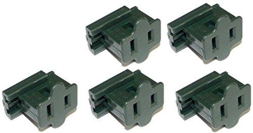 Creative Hobbies Green SPT-1 Female Slip On Plug, Zip Plug, Vampire Plug, Gilbert Plug, Slide Together Plug Add On Outlet, Pack of 5