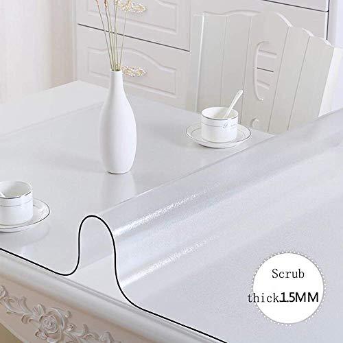 ZHAS Nappe de Table de Bureau en PVC Transparent Nappe de Table en Verre Souple Nappe imperméable Anti-brûlure Non-Lavable à l'huile sans Nappe de Lavage (Couleur  Matte 1.5, Taille  80x150cm)