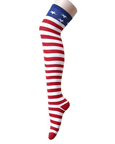 Women's Thigh high Over Knee Thigh High Stockings Cosplay Socks Girls Colorful Stripe American Flag Stockings - Vampire Flag