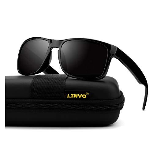 LINVO Premium TR90 Rectangular Mens Polarized Driving Sunglasses for Men Blender Sun Glasses Black HF03