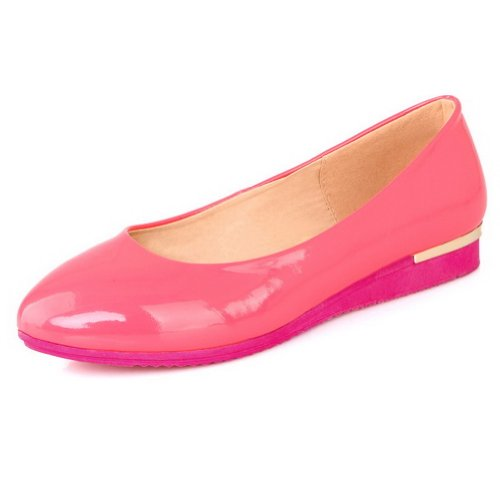 VogueZone009 Girls Closed Round Toe Low Heel Patent Leather Micro Fiber Solid Pumps Red 0UM8Dn32