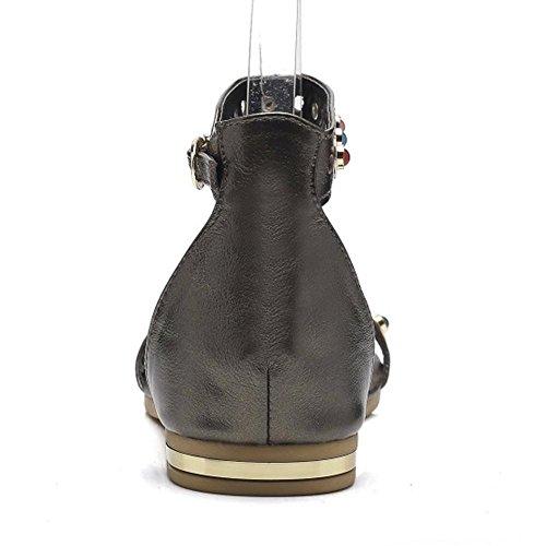 Women TAOFFEN Ankle Sandals Champagne 2 Strap pqvZwx