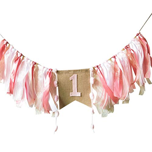 FCLANDING HighChair Banner for 1st Birthday of Girls - First Birthday Decorations for Photo Booth Props, Birthday Souvenir and Gifts, Best Party Supplies -
