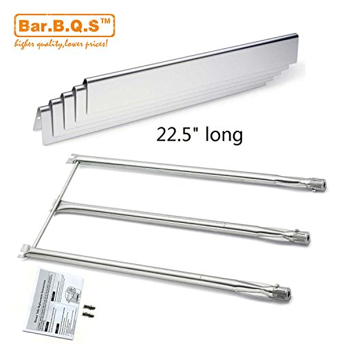Bar.b.q.s Replacement Stainless Steel Burner 7508 and Stainless Steel Heat Plate 7537 for Weber Models: Genesis Silver B & C, Genesis Gold B & C, (2002 & Newer Models); Spirit 700 Gas Grill (Kit) (Burner Replacement Steel Stainless)