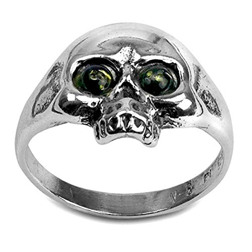 Green Amber and Sterling Silver Jolly Roger Ring, Size 11