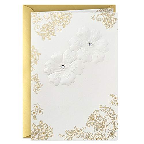 Hallmark Golden Thread Blank Card (Embossed Flowers) (Best Indian Wedding Cards)