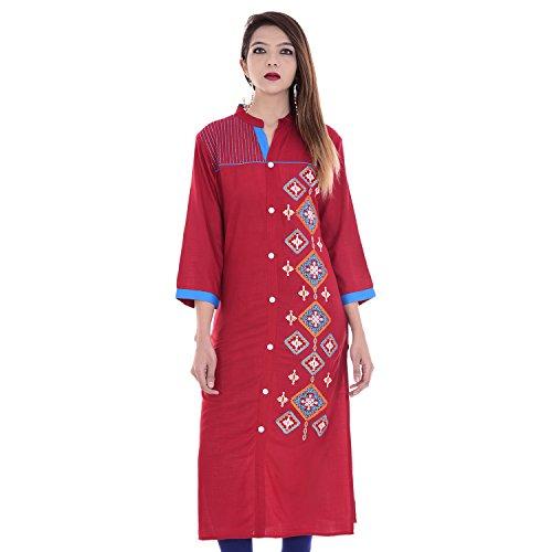 Chichi Indian Women Kurta Kurti 3/4 Sleeve Large Size Embroidered Straight Maroon Top by CHI