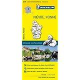 Carte Nièvre, Yonne Michelin