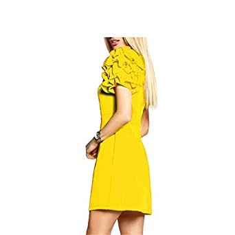 Eloise Isabel Fashion Mulheres vestidos bonitos manga pétala o-neck manga curta verão dress evening