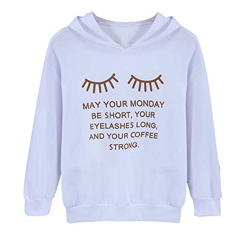 iDWZA Fashion Women Long Sleeve Eyelash Letter Print Hoodie Sweatshirt  Pullover Blouse(White  3f069f730