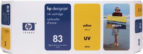 HP 83 C4943A UV Ink Cartridge for DesignJet 5000 series, 680ml, Yellow (Ink 83 Uv)