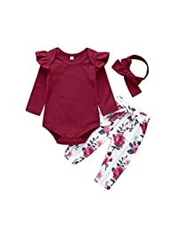 Big Bowknot Short Dress Clothes Set Yiding 2Pcs//Set Baby Girl Flower Printted Romper Jumpsuit