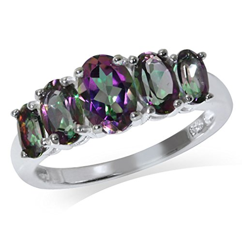 2.58ct. 5-Stone Mystic Fire Topaz 925 Sterling Silver Ring Size 7