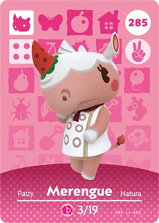 Merengue - Nintendo Animal Crossing Happy Home Designer Amiibo Card - 285