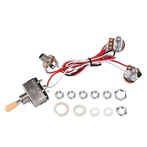 Guitar Wiring Harness Prewired 3 Way Toggle Switch for LP Electric Guitar with 2 Humbuckers, 3 Way Switch Circuit for Les Paul Guitar, Chrome Box Push Pull Switch 500K Pots Kit for Dual Humbucker