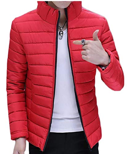 Packable Jacket Down Short EKU Stand Collar Outwear Men's Red qwc66ZFnt