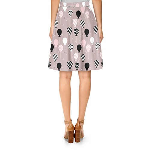 Party Balloons Pink A-Line Skirt Rock XS-3XL
