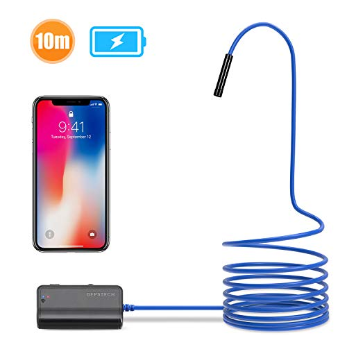 Depstech 1200P Semi-Rigid Wireless Endoscope, 2.0 MP HD WiFi Borescope Inspection Camera,16 inch Focal Distance & 1800mAh Battery Snake Camera for Android & iOS Smartphone Tablet - Blue 33FT