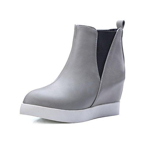 AllhqFashion Womens PU Low-Top Solid Pull-On High-Heels Boots Gray xtdrhUeE4Z