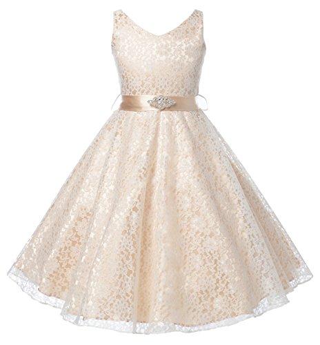 DressForLess Lovely Lace V-Neck Flower Girl Dress , CHAMPAGNE, 6 -