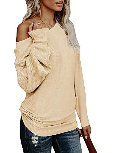 Umeko Womens Off The Shoulder Sweater Oversized Knit Long Sleeve Sweaters Tunic Tops (Large, Khaki)