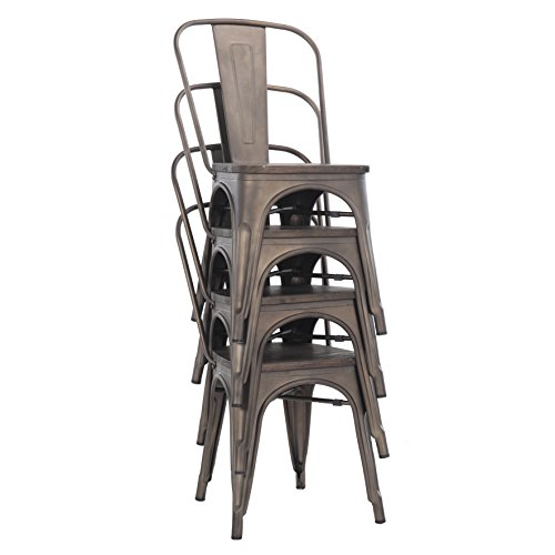 Buschman Store TH-1002C Timber Gun Grey 4 Set of Four Bronze Wooden Seat Tolix-Style Metal Indoor/Outdoor Stackable Chairs with Back, by Buschman Store (Image #4)