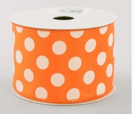 Polka Wired Ribbon Orange White product image