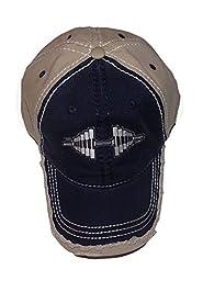 Distressed Navy/Khaki Barbell Cap