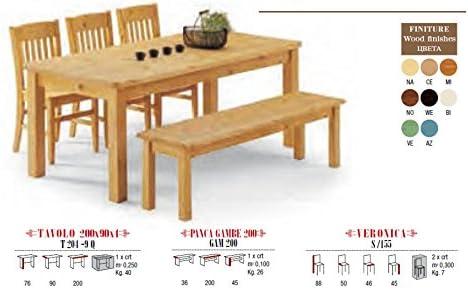 Set de Jardín Mesa de madera con 1 banco y 3 Madera Sillas (Madera de pino maciza, Weiss: Amazon.es: Jardín
