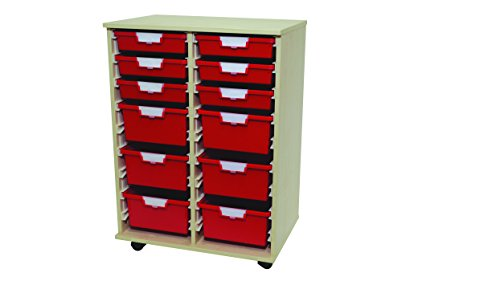 Modular Tray Carts (Swift Tower 'Slim Line' Wood Cart 12 Tray Red)