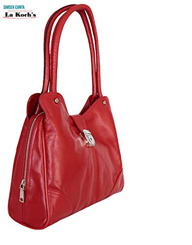 GENUINE LAMB LEATHER 1ST GRADE HANDMADE DESIGNER HOBO SHOULDER BAG FOR LADIES Admirable Quality Not Made in China (RED)